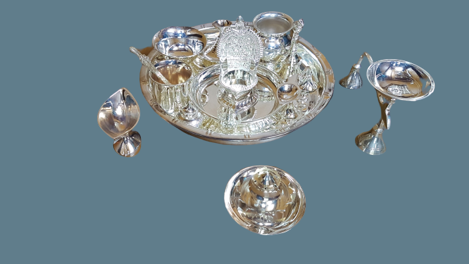 POOJA SET Silver Plated